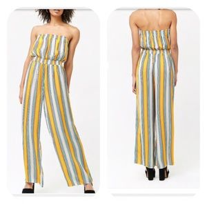 Forever 21 Yellow Striped Tube Wide Leg Jumpsuit